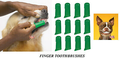 12 PET DOG CAT Finger Pro DENTAL Teeth RUBBER TOOTH BRUSH ORAL CARE Toothbrushes