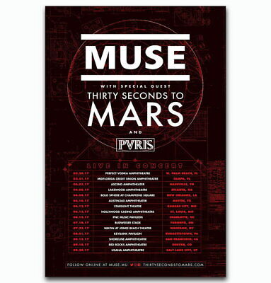 58177 Muse Thirty Seconds to Mars PVRIS Tour Music Decor Wall Poster Print UK