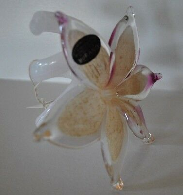 NEW MURANO Art Glass 6 PETAL LILY Paperweight Gold White Pink ITALY