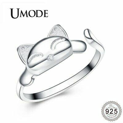 UMODE Lucky Cat 925 Silver Sterling Rings For Women Open Adjustable Rings