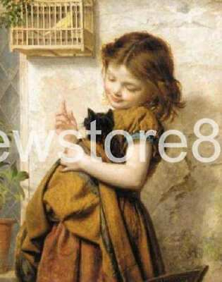 Pure Hand-painted Oil Painting little Girl and Her Pet Cat No Frame