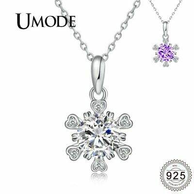 UMODE Heart Flower Snow Flake 925 Sterling Silver Necklaces Pendants for Women