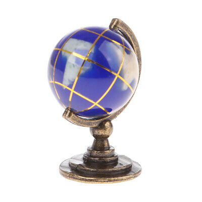 MagiDeal 1:12 Scale Dolls House Miniature Blue Globe With Golden Stand