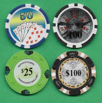 Lot of 4 Poker Chips Monaco Casino, Monarch, Ben Franklin & Royal Flush