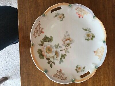 BAVARIA Porcelain Hand Painted Floral Round Scalloped Plate w/ cut out handles