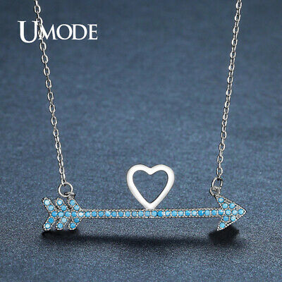 UMODE Brand Design Charm Lake Blue Long Arrows Love Heart CZ Stone Pendant