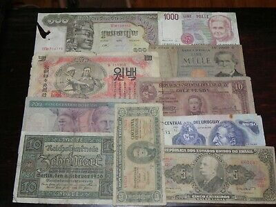 10 mixed Circulated Foreign Currency Banknotes Lot I JCcug 190567