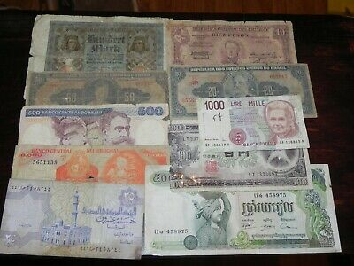 10 mixed Circulated Foreign Currency Banknotes Lot III JCcug 190569