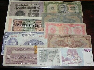 10 mixed Circulated Foreign Currency Banknotes Lot V JCcug 190571