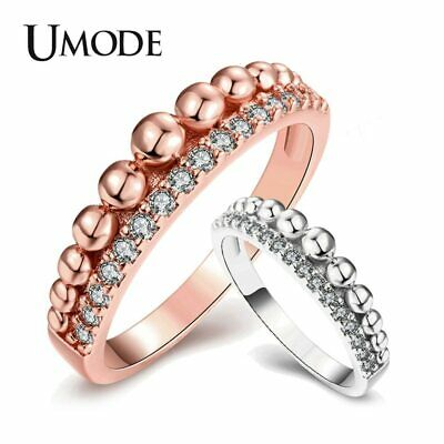UMODE Fashion Cubic Zirconia Eternity Band Rings for Women Round Ball Rose Gold