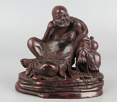 Chinese Exquisite Hand-carved Luohan Carving bamboo statue