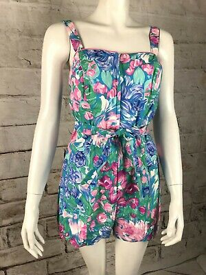 Vintage 70s Ceelo Abstract Floral Playsuit Swimsuit Cotton Romper One Piece M/L