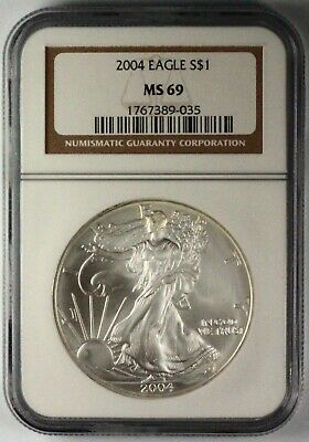 2004 Silver American Eagle MS69 NGC 1 oz CERTIFIED