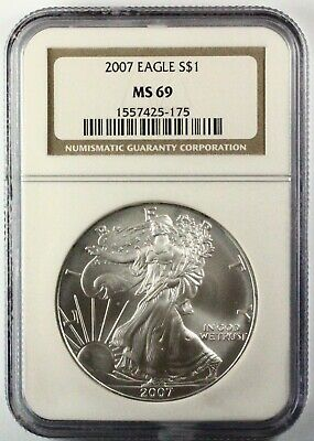 2007 Silver American Eagle MS69 NGC 1 oz CERTIFIED