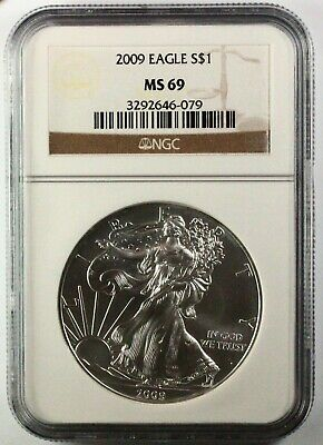 2009 Silver American Eagle MS69 NGC 1 oz CERTIFIED