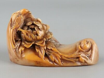 Chinese Exquisite Hand-carved flower bird Carving Shoushan Stone seal