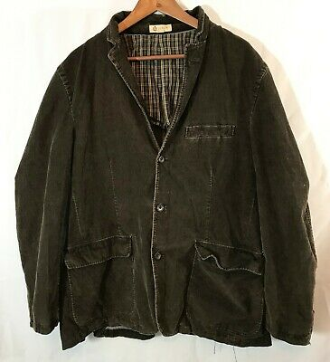 VTG J Crew Mens Large Corduroy Blazer Brown Sport Coat Jacket 3 Button Cotton