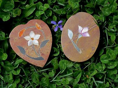 ANTIQUE lot Set of 2 Chinese Qing Famille Rose TRINKET BOXES Marble Jade UNIQUE