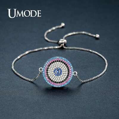 UMODE Stylish Shining Blue Eye Round Colorful CZ Chain & Link Bracelets for