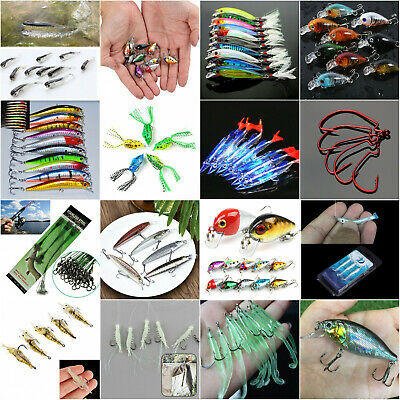 Lots Mixed Fishing Lures Crankbaits Hooks Minnow Crank Baits Tackle Bass Minnow