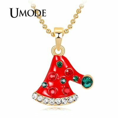 UMODE New Fashion Christmas Red Hat Women Necklaces Gifts Green Stone Girls