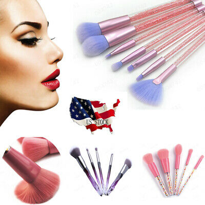 5/7/18/20Pcs Makeup Brushes With Transparent Crystal Handle For Blush, Eyeshadow