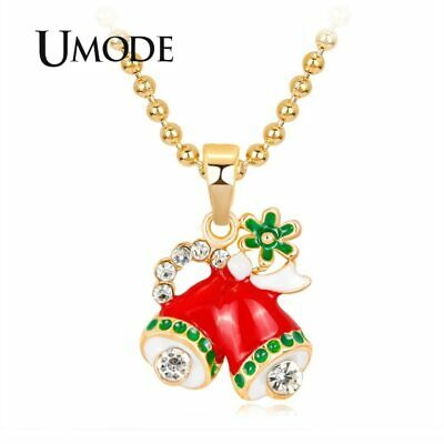 UMODE Christmas Red Bell Girls Gifts Necklaces Women Long Chain Pendants for