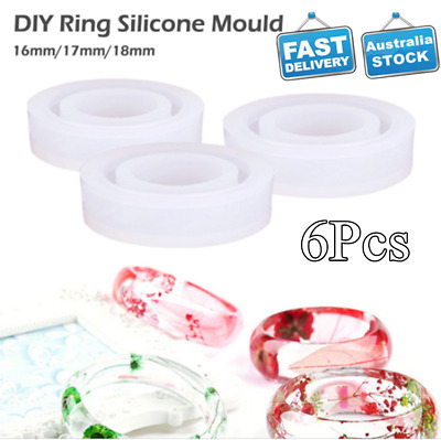 6pcs/Lot Silicone Ring Mold for Jewelry Making Resin Silicone Mould DIY Craft AU