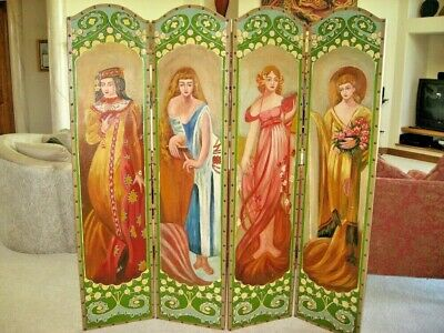 Antique ROOM DIVIDER,Hand Painted 4 Panel RENAISSANCE LADIES Screens, Rare Find!
