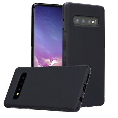 Samsung Galaxy S10 Plus Black Matte Jelly Case Rugged Defender Screen Protector