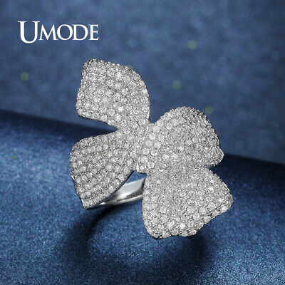 UMODE Luxury Beautiful Flower CZ Stone Crystal Rings Jewelry for Women White