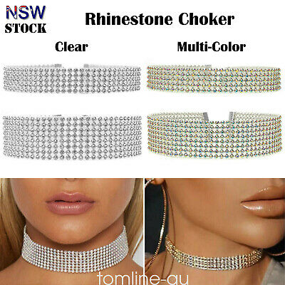 SILVER Thick Diamond Crystal Rhinestone Choker Wide Velvet Ribbon Wrap