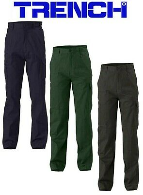 3 PAIRS - Cotton Drill Cargo Pants - Black or Bottle Green