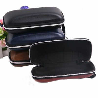 Case Portable Zipper Eye Glass Sunglasses Hard Protector Box Leather Shell Clam