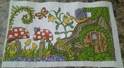 Completed cross stitch - fairy garden