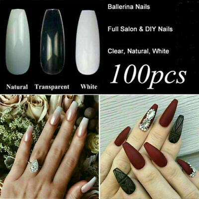 100Pcs Professional Fake Nails Long Ballerina Half French Acrylic Nail Tips Kit