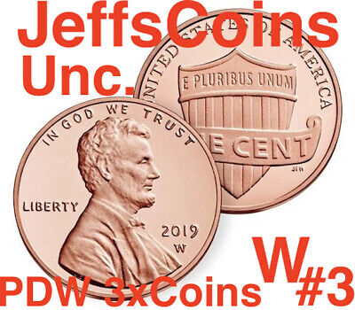 2019 PDW #3 UNCIRCULATED of 3 Lincoln Union Shield Cent West Point Penny P D W 3