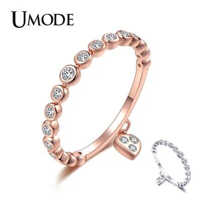 UMODE Wedding Rings Crystal Heart Fashion Jewelry Lover Zircon Engagement Ring