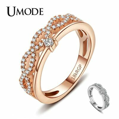 UMODE Promise Engagement Wedding Rings for Women Female Infinity Rings Cubic