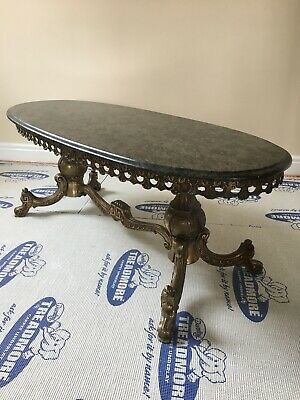 Stunning Antique Brass and Granite Coffee Table
