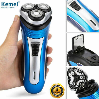 Mens Electric Rotary Shaver Rechargeable 3D Triple Floating Head Trimmer AU