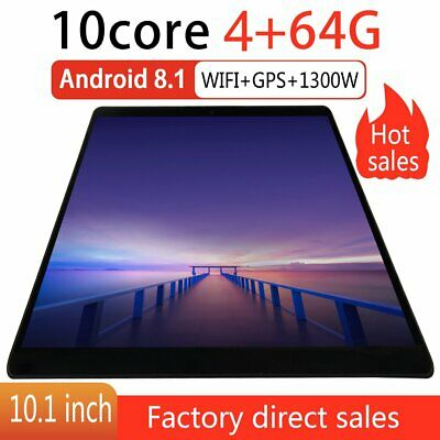 """HD Screen 10.1"""" Deca-Core Android 8.1 Tablet 4GB+64GB Bluetooth Wi-Fi 4G GR"""