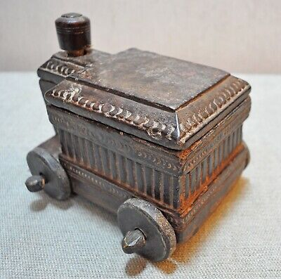 Original Old Antique Hand Carved Big Size Wooden Kitchenware Spice Box
