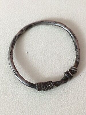 Ancient Viking Twisted Silver Finger Ring 8th - 11th Century AD