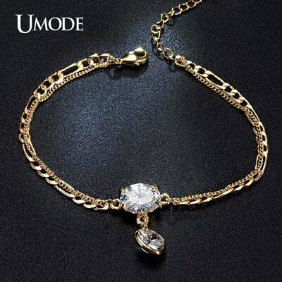 UMODE Link Chain Bracelets Love Heart Oval Shaped Cubic Zirconia For Women