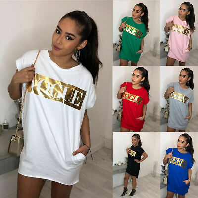 Plus Size Women Summer Letter Long Tops Ladies Short Sleeve Pocket T-Shirt Dress