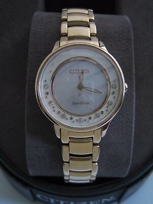Citizen Eco Drive Watch Em0382-86D Womens Circle Of Time Diamond Stainless Steel