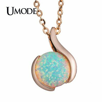UMODE Unique Women Long Chain Pendant Necklaces Nature Round Opal Stone Rose