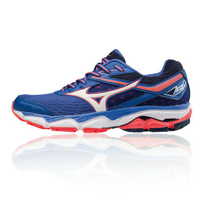 Mizuno Womens Wave Ultima 9 Running Shoes Trainers Blue Orange White Sports