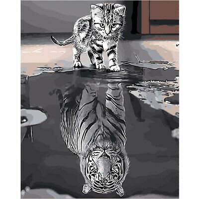 Cute Cat Reflection Tiger Hand Oil Painting Unframed Paint By Numbers Home Decor